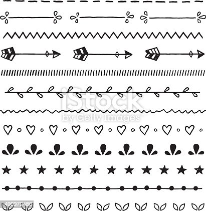 Hand Drawn Ink Doodles Seamless Vector Borders Brushes