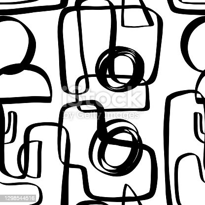 istock Hand drawn ink geometric shapes seamless pattern 1298544516
