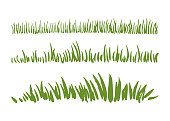 Hand drawn ink grass set isolated on white background. Horizontal borders.