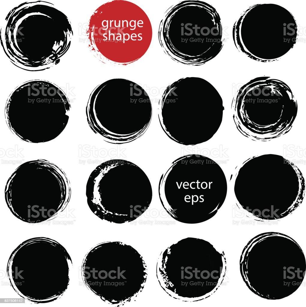 描画されたインク グランジ円セットを手します。 ベクターアートイラスト