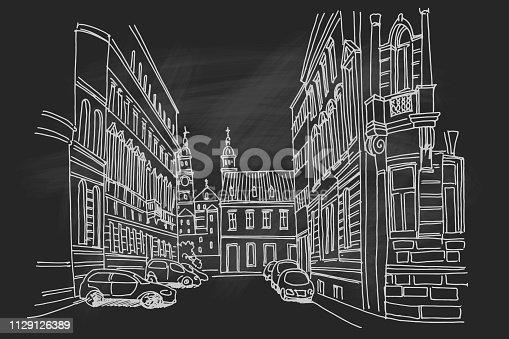 Hand drawn ink line sketch of european street. Zagreb, Croatia.