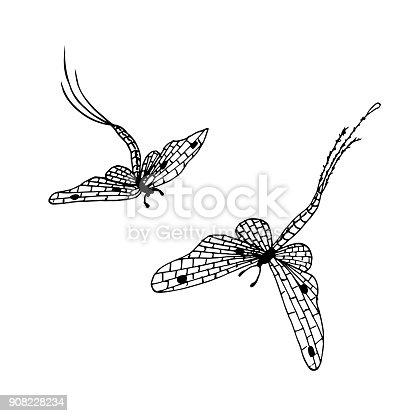 istock Hand drawn ink monochrome mayflies sketch stock vector 908228234