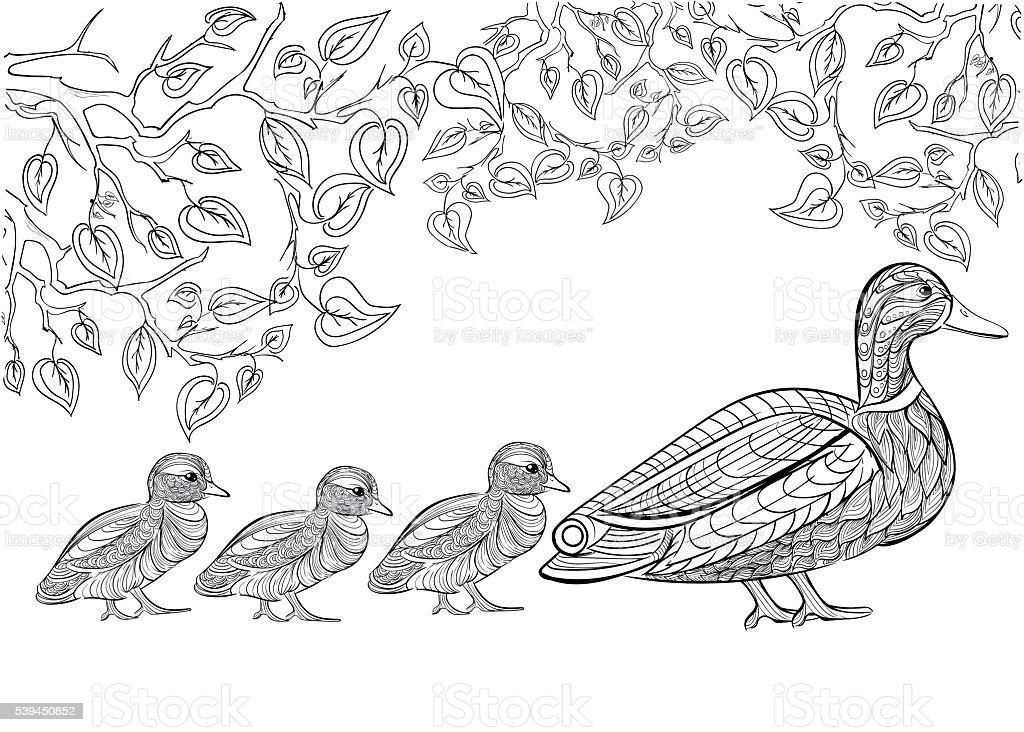Dibujado A Mano Patrón De Tinta Libro Para Colorear Para Adultos ...