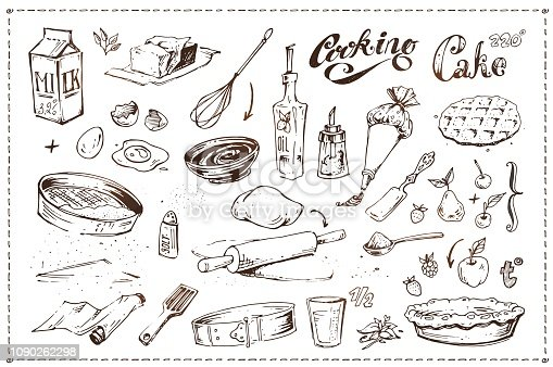 Hand drawn ink sketch icons. Cooking of cake