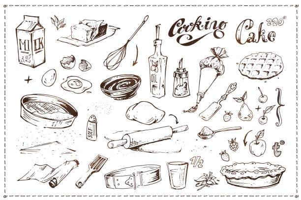 Hand drawn ink sketch icons set on the culinary theme - kitchen utensils, fruits and pastry. Cooking cake illustration. Vintage doodles isolated on white background for menu design Hand drawn ink sketch icons. Cooking of cake cake drawings stock illustrations