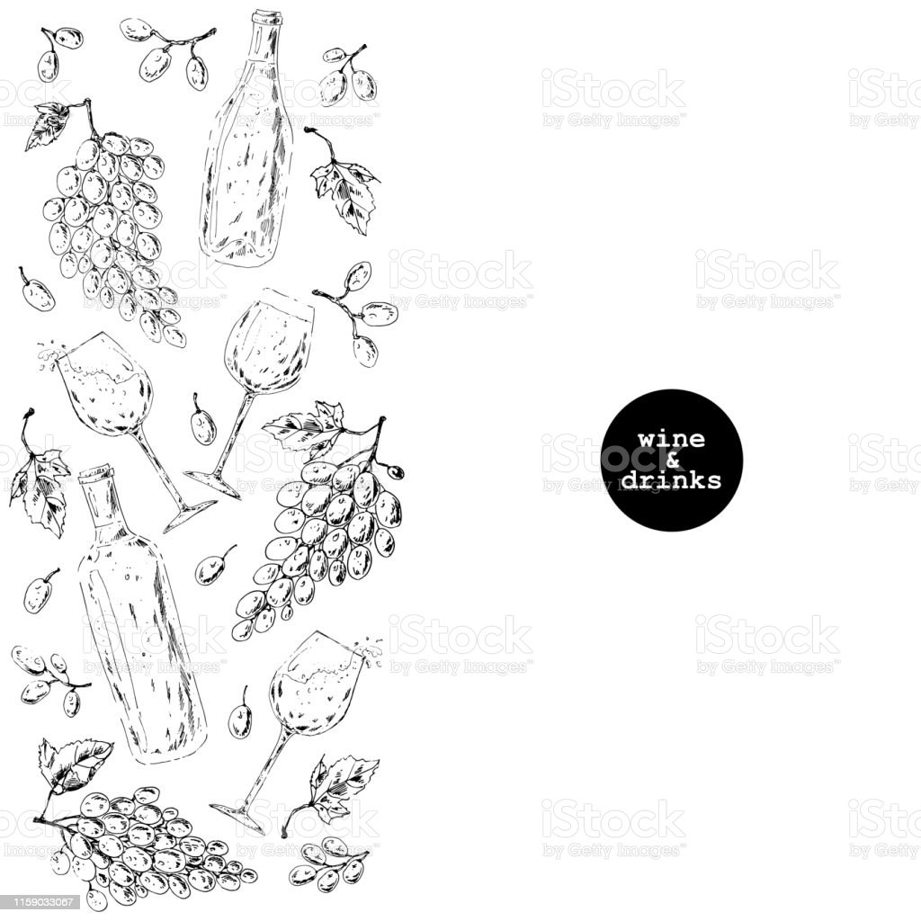 Hand drawn ink sketch wine background with vertical pattern of...