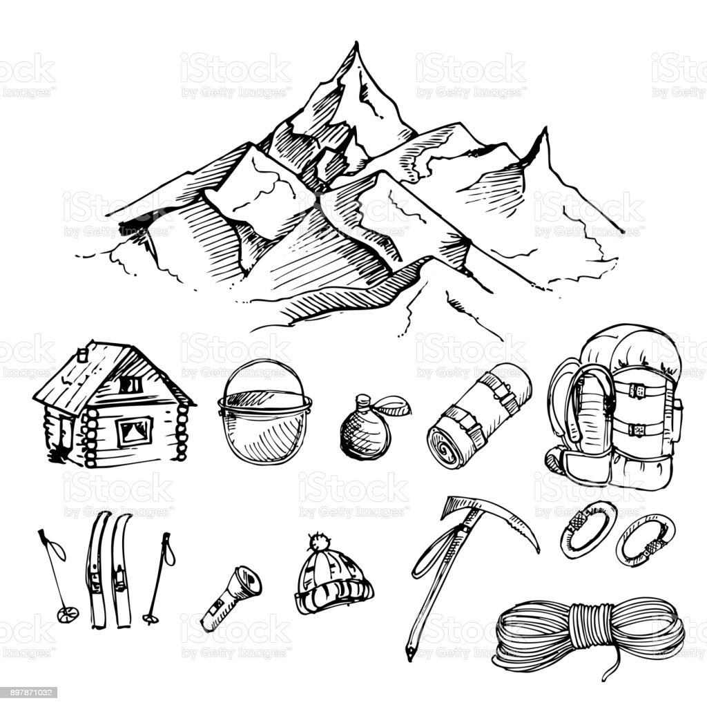 hand drawn ink vector set of climbing, mountain camping, mountain, rope, backpack, alpenstock, carabiner, skiing, Mat, pot. vector eps 8 vector art illustration