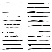 Vector illustration of a collection of hand drawn ink and pencil brushes