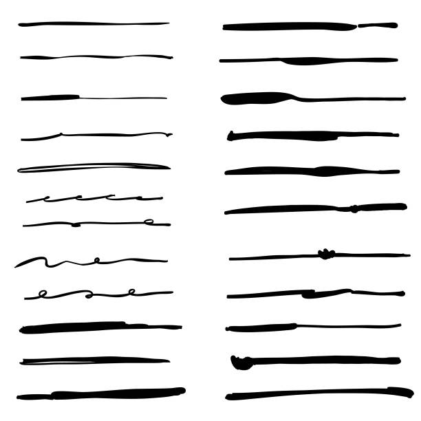 Hand drawn inking brushes collection Vector illustration of a collection of hand drawn ink and pencil brushes single line stock illustrations