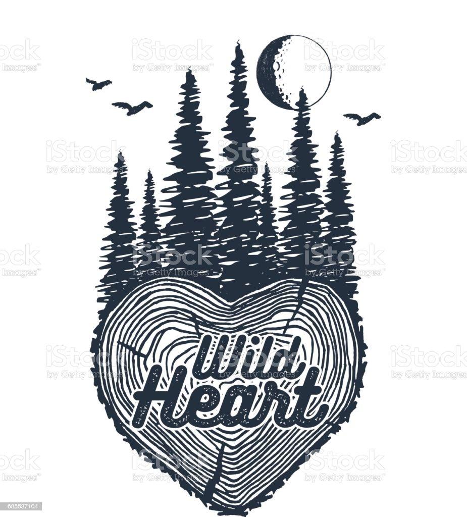 Hand gezeichnet inspirierende Abzeichen mit strukturierten Wald-Vektor-Illustration. – Vektorgrafik