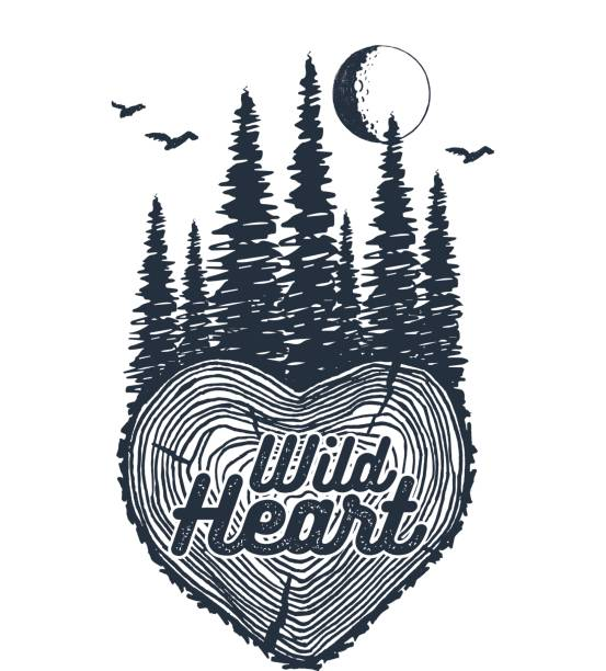 hand gezeichnet inspirierende abzeichen mit strukturierten wald-vektor-illustration. - stammes tattoos stock-grafiken, -clipart, -cartoons und -symbole