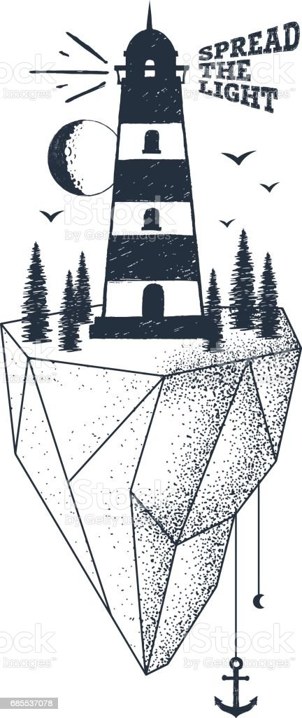 Hand drawn inspirational badge with textured lighthouse vector illustration. vector art illustration