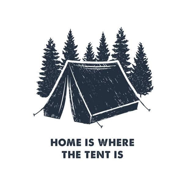 手描きの心に強く訴えるラベル。大自然を旅します。 - キャンプ点のイラスト素材/クリップアート素材/マンガ素材/アイコン素材