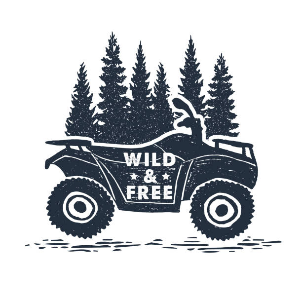 Hand drawn inspirational label. Traveling through wild nature. Hand drawn inspirational label with pine trees and quad bike textured vector illustrations and
