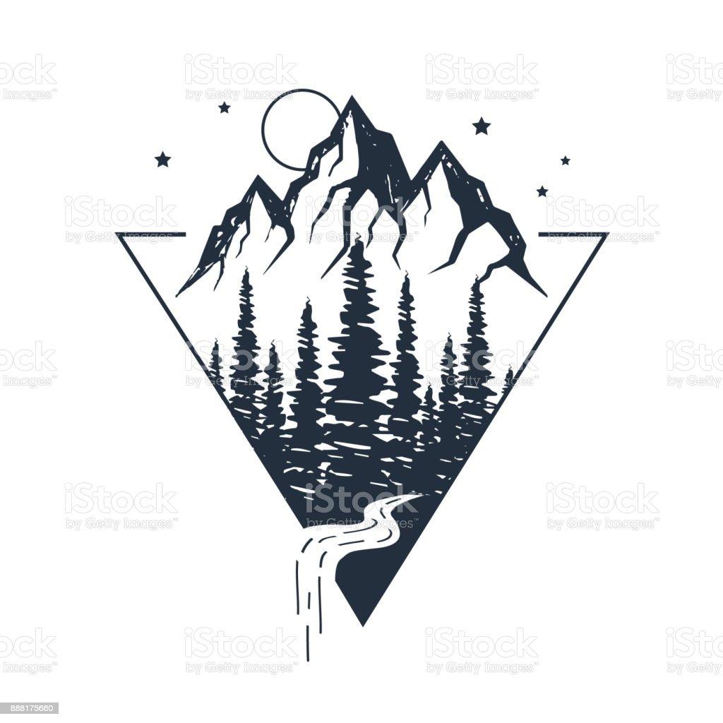 Étiquette inspirational dessiné de main. Voyageant à travers la nature sauvage. - Illustration vectorielle