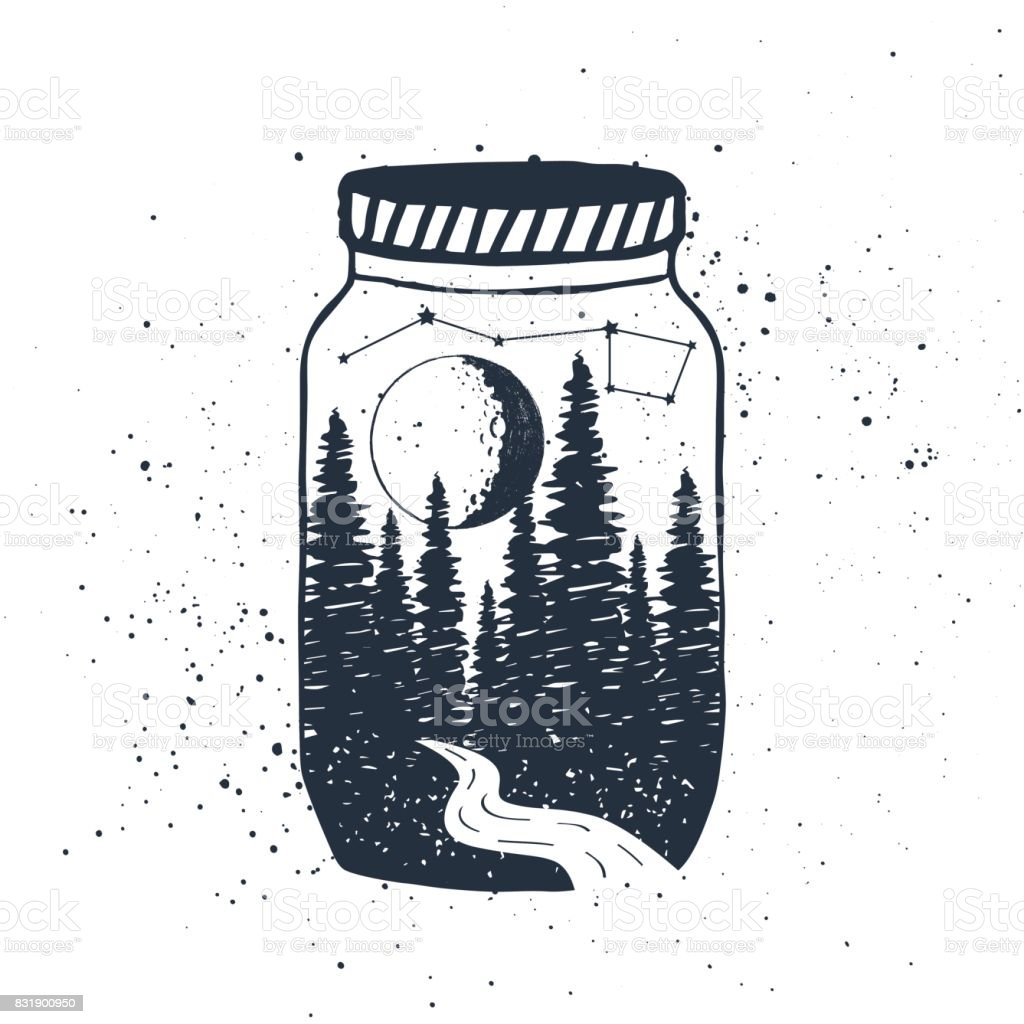 Hand drawn inspirational label with forest in a jar vector illustration. vector art illustration