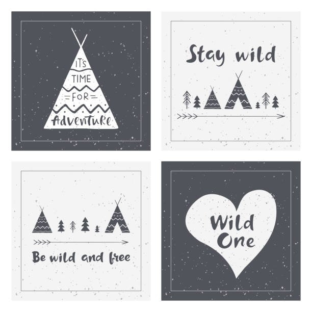 Hand drawn inspirational lettering about wild and brave lifestyle. Indian wigwams. Adventure cards design. Typography posters for banners, t-shirt or bag print. Vector illustrations. teepee stock illustrations