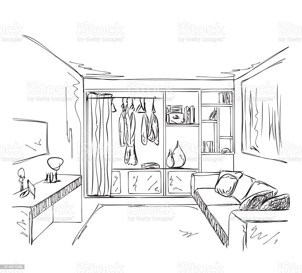 Desenhado m o desenho quarto interior com guardaroupa for Habitacion dibujo