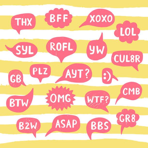 Mão desenhada Internet acrônimos, abreviações nas bolhas do bate-papo - ilustração de arte em vetor