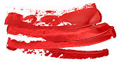 Hand drawn isolated oil paintbrush stripe with deep dirty red color esp 10 vector illustration. Template for your long text atop.