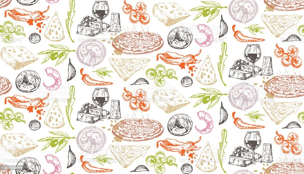 Hand drawn italian food vector art illustration