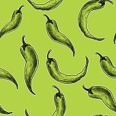Vector illustration of a set of Hand drawn jalapeno and chili pepper seamless repeating background pattern. Includes food items such as , jalapeno peppers or chili peppers. Fully editable eps 10 background.