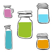 Vector illustration of a collection of hand drawn jars