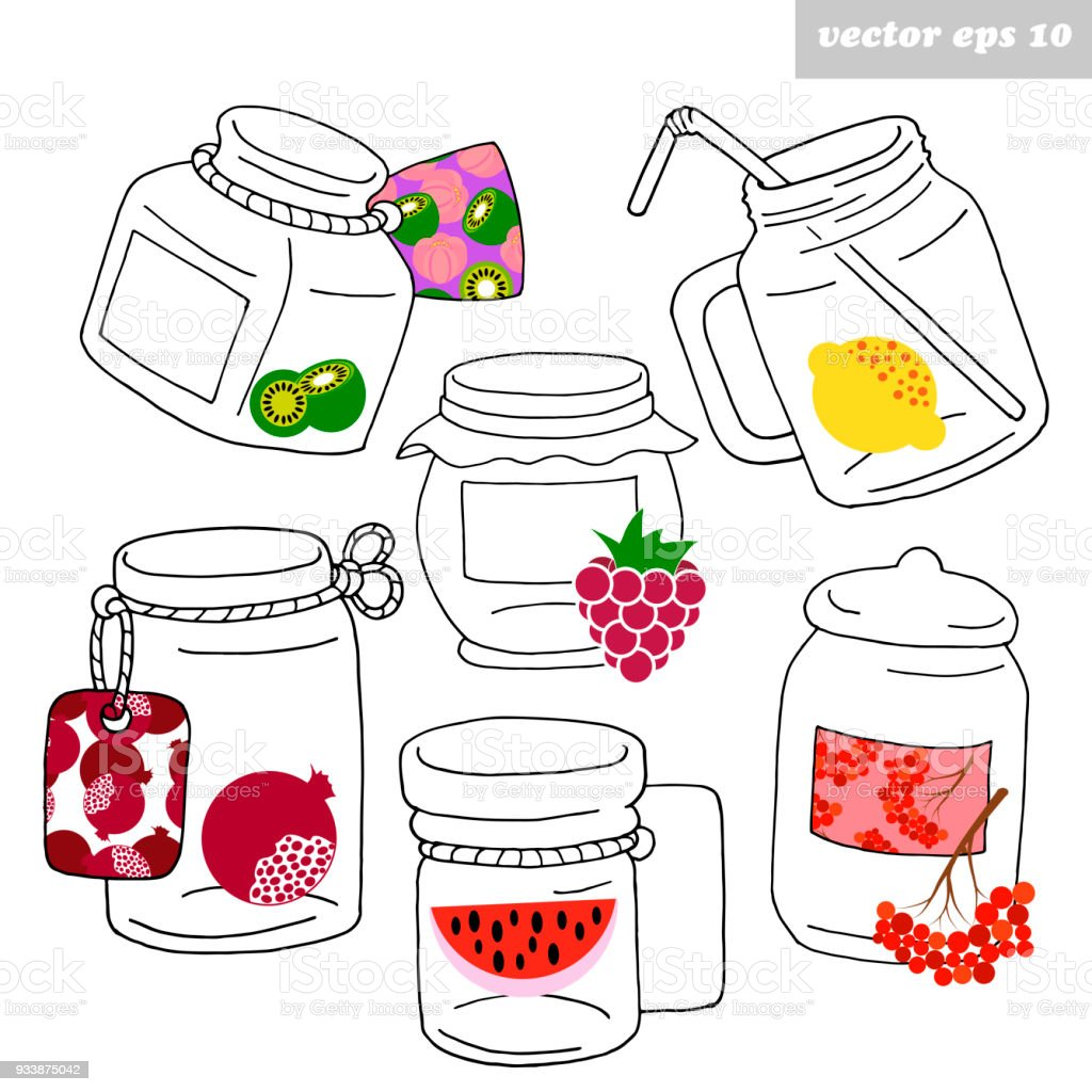 Hand Drawn Jars With Fruits Stock Vector Art More Images Of Art