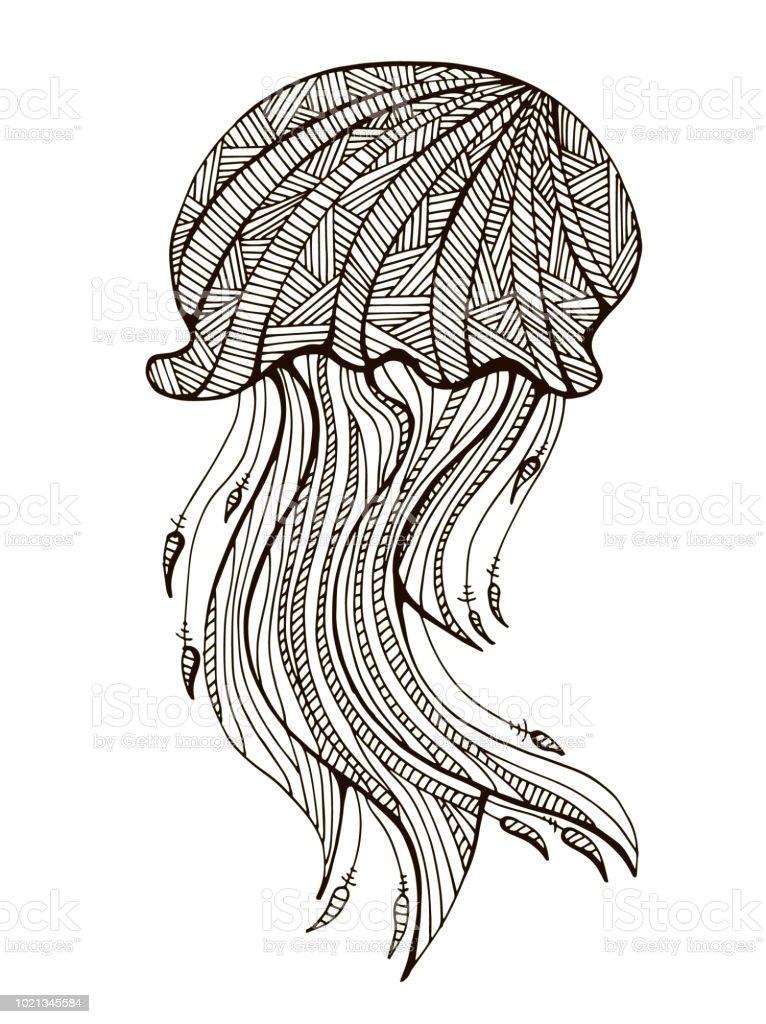 Ilustración de Mano Dibujada Medusas Para Colorear Para Adultos ...