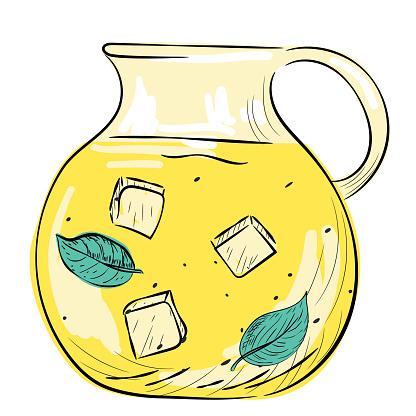Hand Drawn Jug Of Lemonade