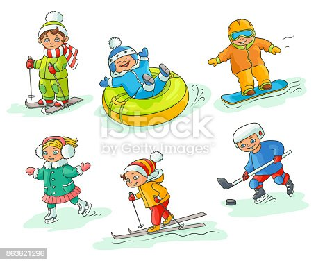 Kids having fun in winter - skiing, snowboarding, ice skating, playing hockey, sleighing, flat cartoon vector illustration isolated on white background. Hand drawn kids children - winter activities