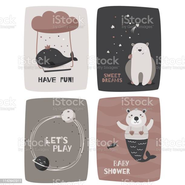 Hand drawn kids design cards with cute animals and phrases vector id1142642311?b=1&k=6&m=1142642311&s=612x612&h=rc51su5ugmt70d3uwkyfcu3gscrt1vypmwir 4fnbfy=
