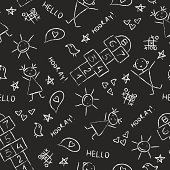 beautiful seamless pattern with cute figures of baby like drawn boy and girl, hopscotch, sun, bird, hearts, star, words 'hello' and 'hooray'