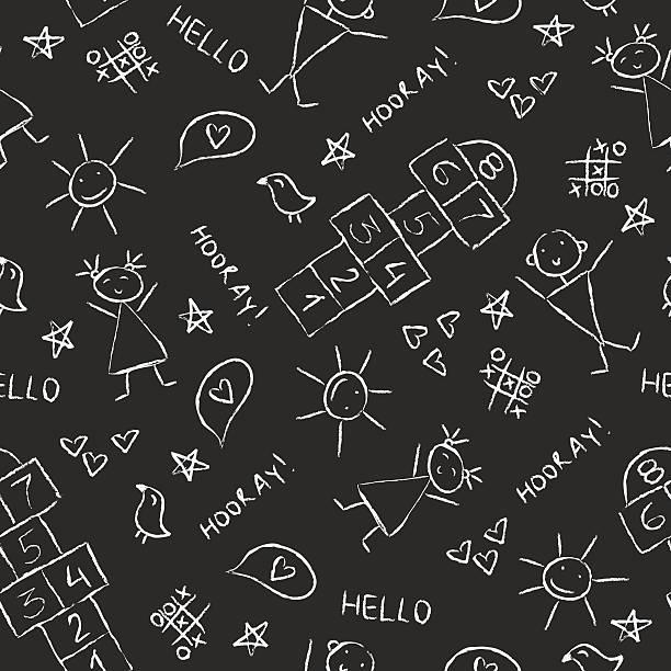 hand drawn kinder vintage tafel textur hintergrund mit kreide zeichnung - himmel und hölle spiel stock-grafiken, -clipart, -cartoons und -symbole