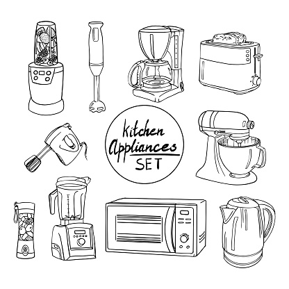 Hand drawn kitchen appliances set. Coffee maker, different types of mixers, toaster, electric kettle, blender, microwave oven, stand mixer. Set of household kitchen appliances in the style of doodle.