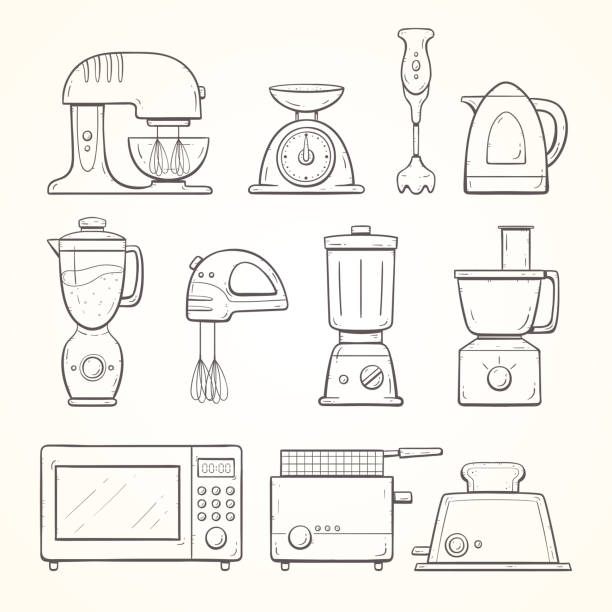 Hand drawn kitchen appliances Hand drawn kitchen appliances, including different types of blenders, weight, jug, microwave, fryer and toaster. Doodle outline collection. cooking black and white stock illustrations