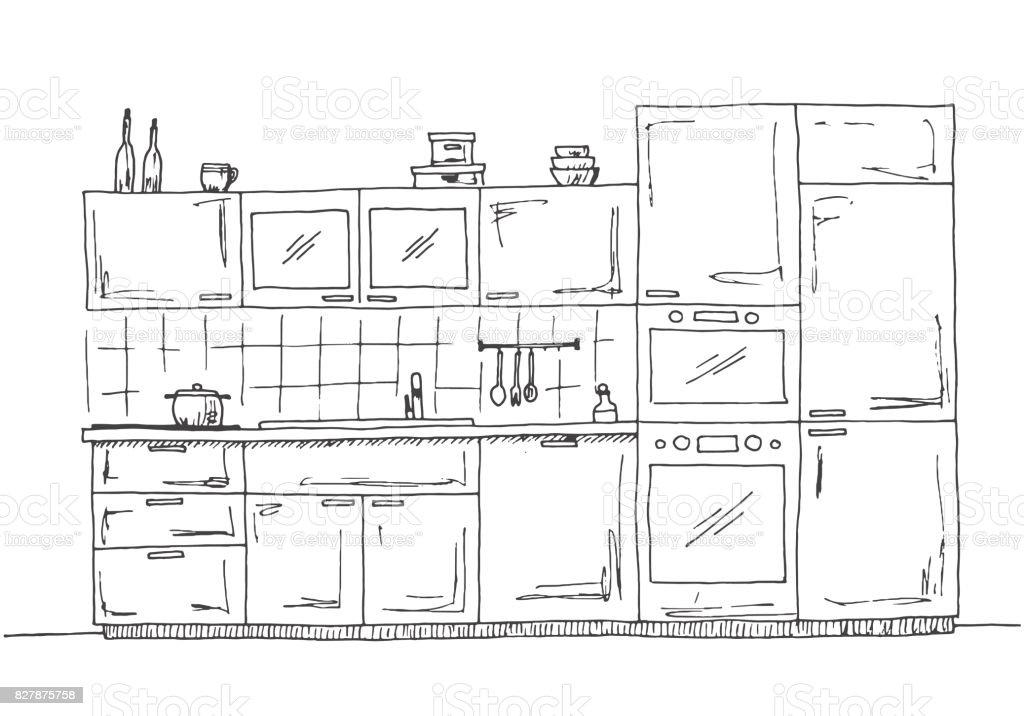 Muebles De Cocina Dibujado A Mano. Cocina Con Microondas, Horno Y Nevera.  Ilustración