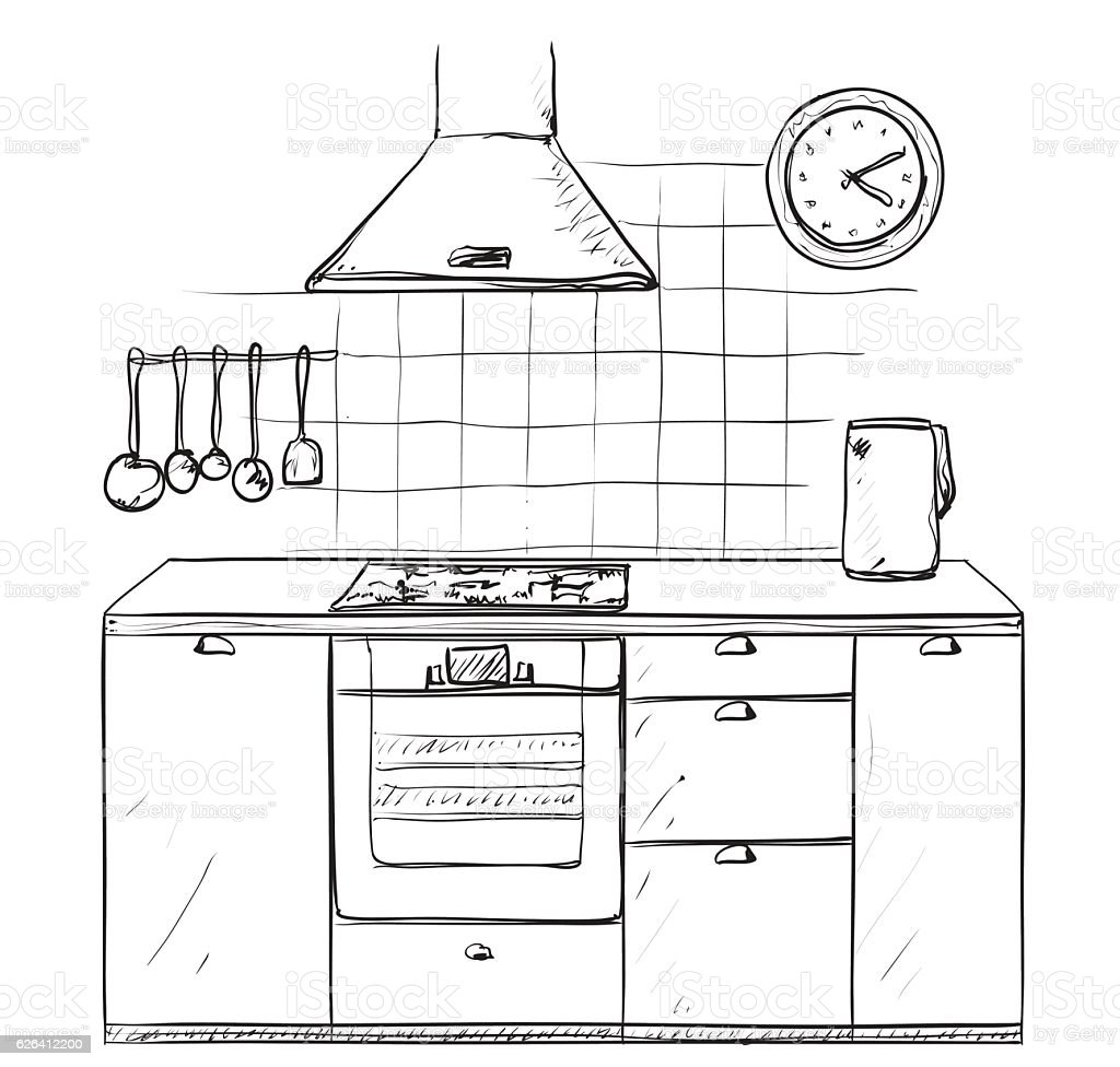 Hand Drawn Kitchen Furniture Sketch Stock Vector Art
