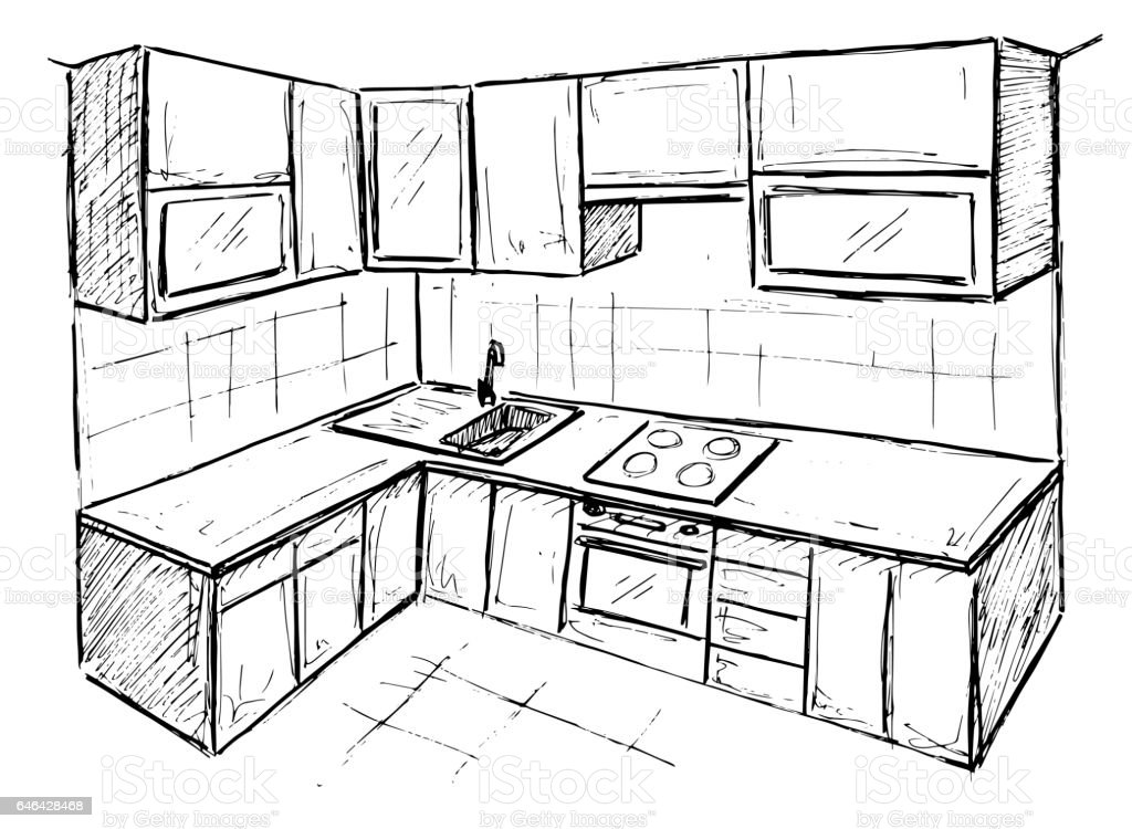 hand drawn kitchen furniture sketch vector illustration stock vector Anatomy of a Window Unit hand drawn kitchen furniture sketch vector illustration royalty free hand drawn kitchen furniture