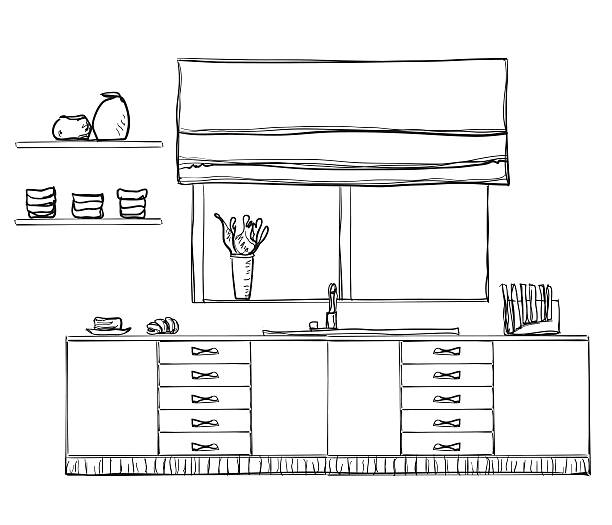 handgezeichnet küche ausgestattet. - schrankkorb stock-grafiken, -clipart, -cartoons und -symbole
