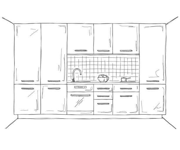 ilustrações de stock, clip art, desenhos animados e ícones de hand drawn kitchen furniture. vector illustration in sketch style. - kitchen counter
