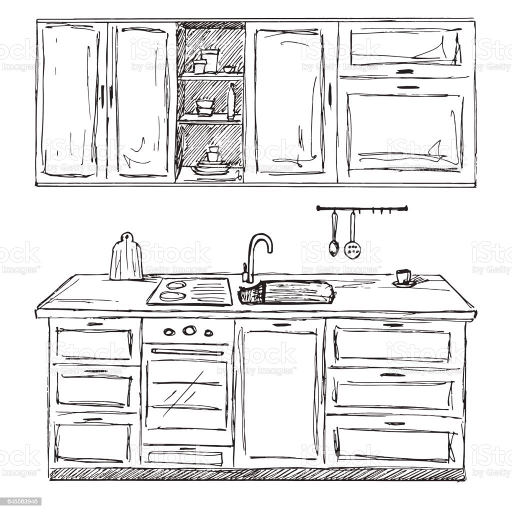 The Kitchen Sink Art Drawing Sketch Sketchbook By: Hand Drawn Kitchen Furniture Vector Illustration In Sketch