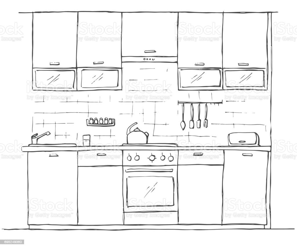 Royalty Free Kitchen Counter Top View Clip Art, Vector