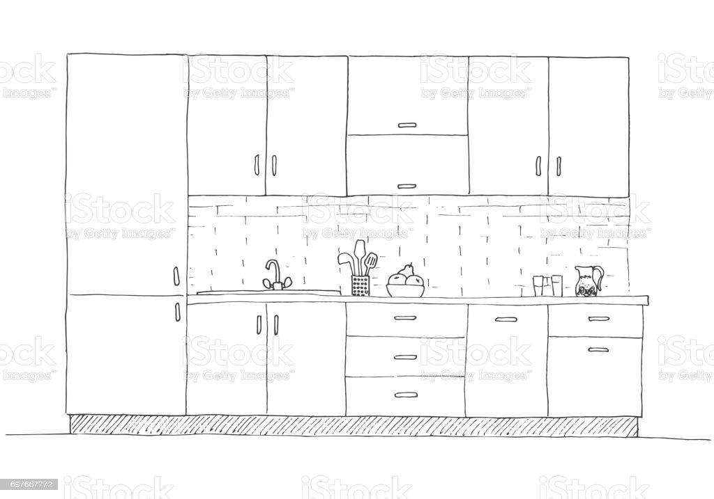 Ilustración de Muebles De Cocina Dibujado A Mano Ilustración De ...