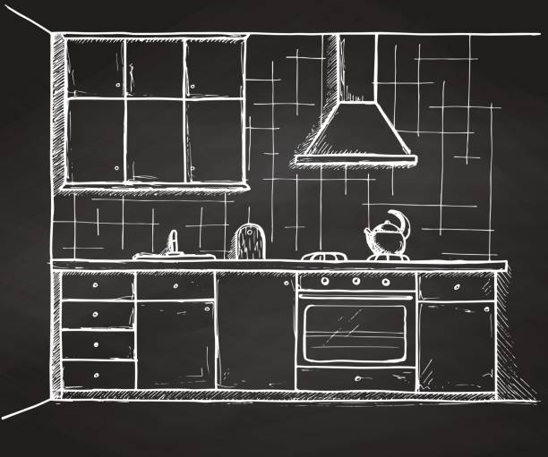 ilustrações de stock, clip art, desenhos animados e ícones de hand drawn kitchen furniture. vector illustration in sketch style - kitchen counter