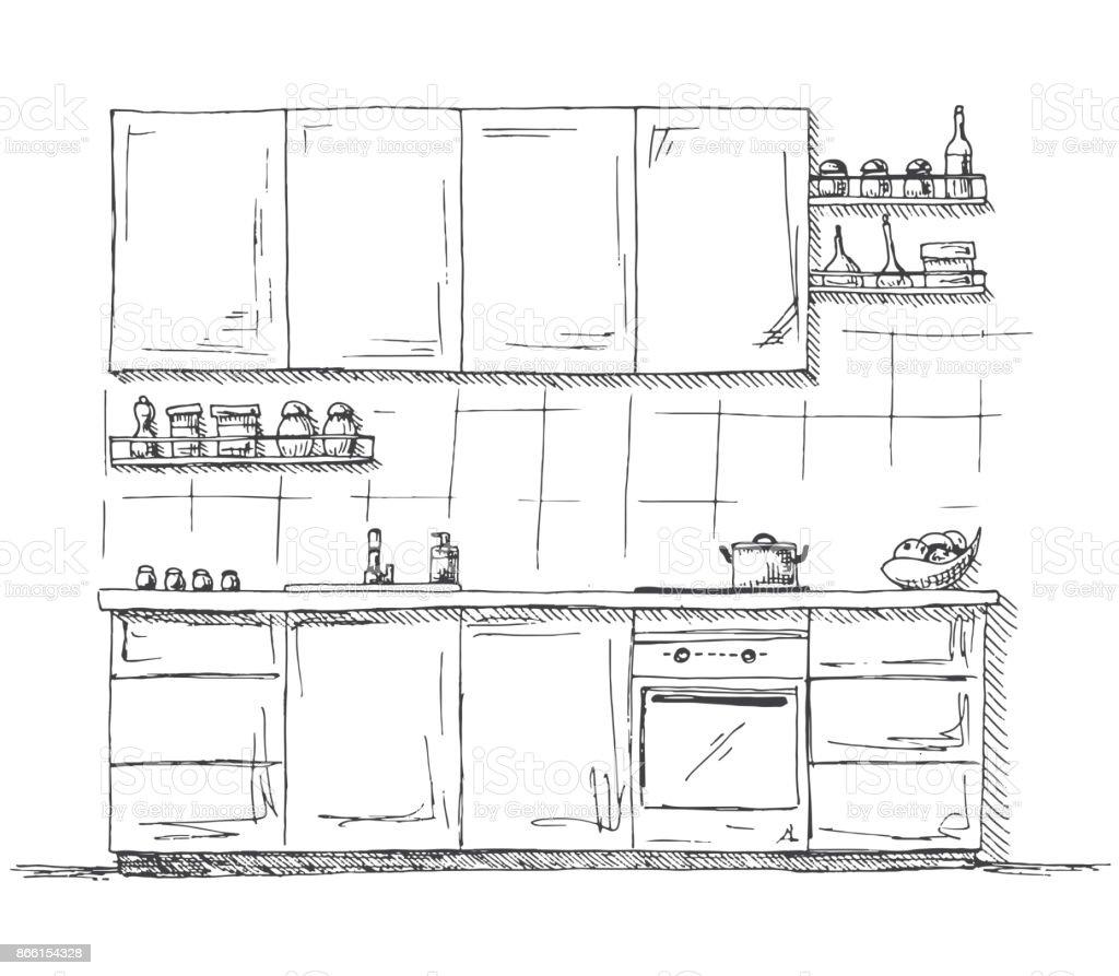Muebles De Cocina Dibujado A Mano. Ilustración De Vector De Estilo Sketch  Ilustración De Muebles