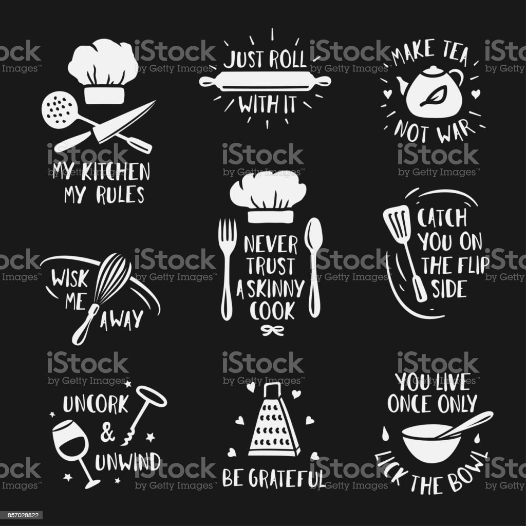 Hand Drawn Kitchen Posters Set. Vector Vintage Illustration. Royalty Free  Stock Vector Art
