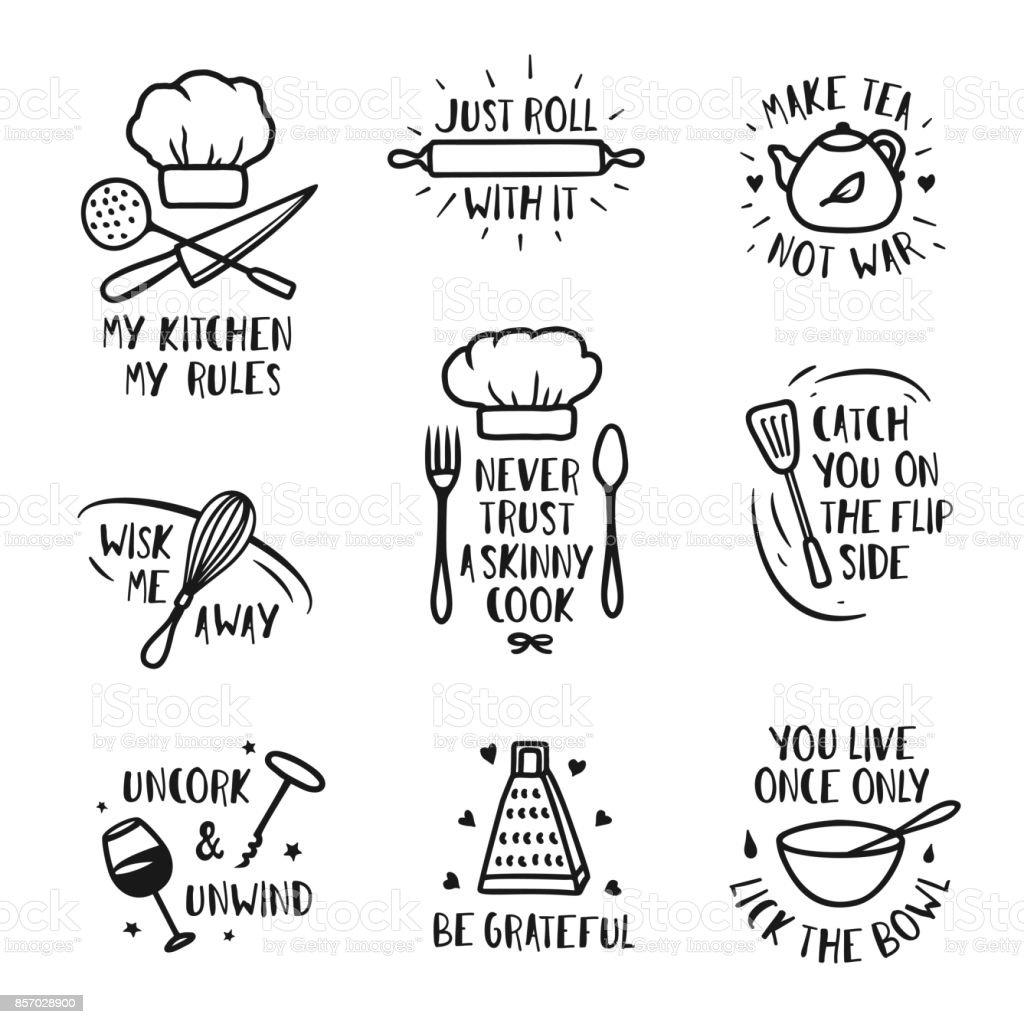 Hand drawn kitchen posters set. Vector vintage illustration. vector art illustration