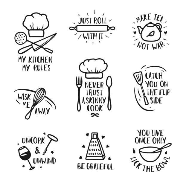 Hand drawn kitchen posters set. Vector vintage illustration. Hand drawn kitchen posters set. Quotes and funny sayings about cooking food. Wall decor art prints collection. Kitchenware monochrome set. Vector vintage illustration. rolling pin stock illustrations