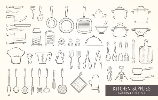 Hand drawn kitchen supplies Big set of 52 hand drawn kitchen supplies, including different types of cooking knives, pots and pans, strainers, graters, skimmers, ladles, and more kitchen tools. Doodle outline collection. grater utensil stock illustrations